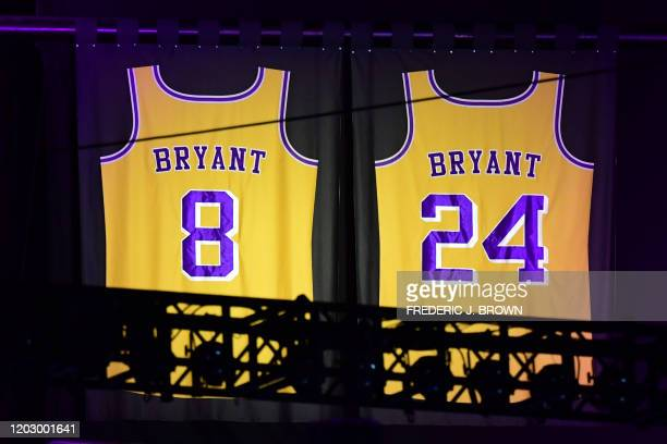 "Kobe Bryant's Lakers jerseys are displayed during the ""Celebration of Life for Kobe and Gianna Bryant"" service at Staples Center in Downtown Los..."