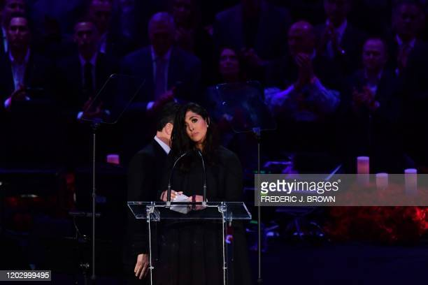 Kobe Bryant's wife Vanessa Bryant arrives to speak during the Celebration of Life for Kobe and Gianna Bryant service at Staples Center in Downtown...
