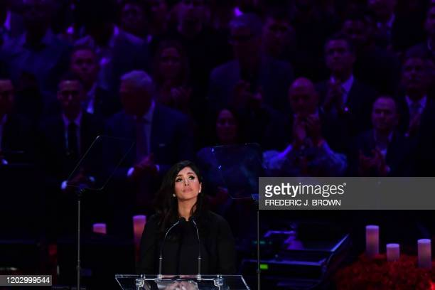 "Kobe Bryant's wife Vanessa Bryant arrives to speak during the ""Celebration of Life for Kobe and Gianna Bryant"" service at Staples Center in Downtown..."