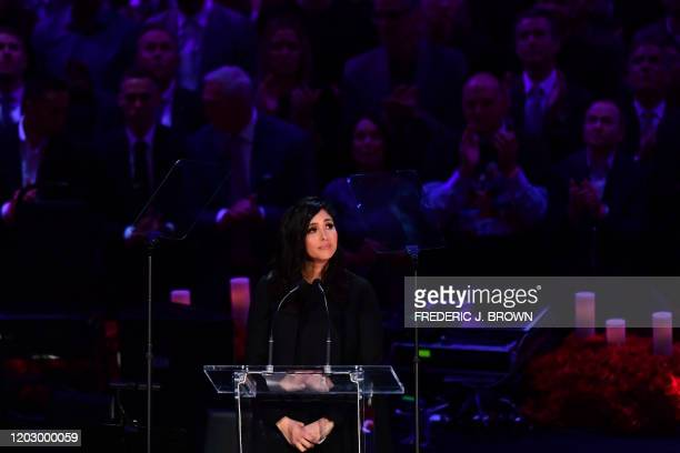 Kobe Bryant's wife Vanessa Bryant speaks during the Celebration of Life for Kobe and Gianna Bryant service at Staples Center in Downtown Los Angeles...