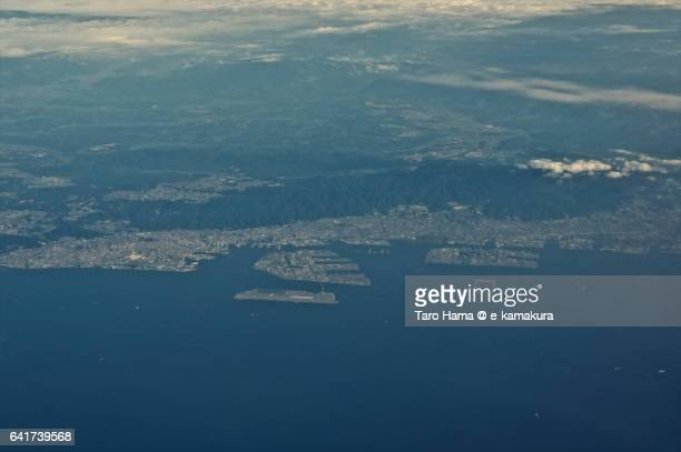 Kobe city and Mt. Rokko aerial view from airplane