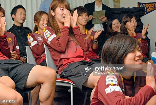 INAC Kobe Leonessa players celebarte a Japan goal as they watch the FIFA Women's World Cup 2015 Semi Final match between Japan and England on July 2...