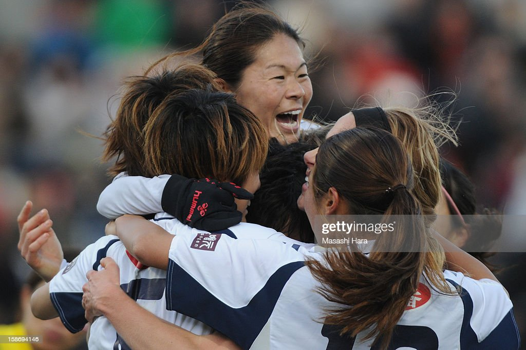 Kobe Leonessa players celebrate the first goal during the 34th Empress's Cup All Japan Women's Football Tournament final match between INAC Kobe Leonessa and JEF United Chiba Ladies at Nack 5 Stadium Omiya on December 24, 2012 in Saitama, Japan.