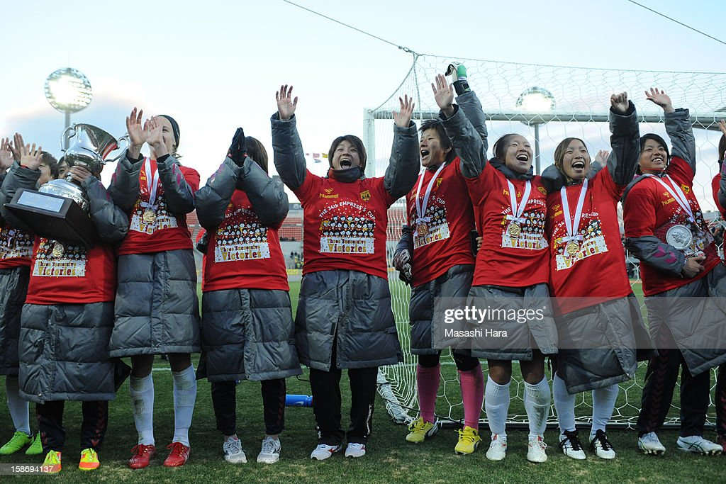 Kobe Leonessa players celebrate the victory after the 34th Empress's Cup All Japan Women's Football Tournament final match between INAC Kobe Leonessa and JEF United Chiba Ladies at Nack 5 Stadium Omiya on December 24, 2012 in Saitama, Japan.