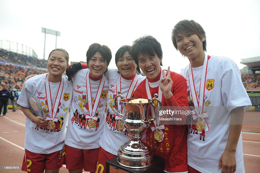 Kobe Leonessa players (L-R) Junko Kai #2,Yukari Kinga #5,Shinobu Ohno #10,Miwa Yonetsu #14,Chiaki Minamiyama #13 celebrate after the All Japan Women's Soccer Championship Final match between Albirex Niigata Ladies and INAC Kobe Leonessa at the National Stadium on January 1, 2012 in Tokyo, Japan.