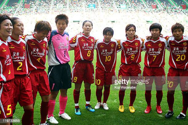 Kobe Leonessa players line up before the start of the Nadeshiko League match between INAC Kobe Leonessa and JEF United Ichihara Chiba Ladies at...
