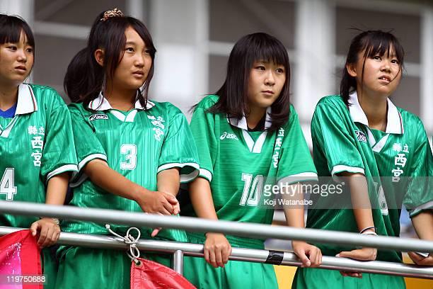 Kobe Leonessa Supporter girls wait for the start of the Nadeshiko League match between INAC Kobe Leonessa and JEF United Ichihara Chiba Ladies at...