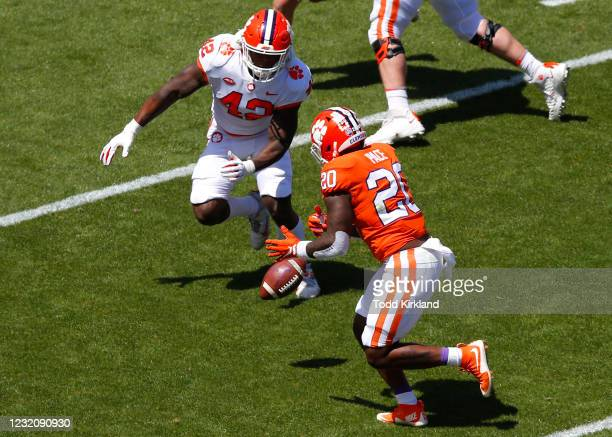 Kobe Pace of the Clemson Tigers fumbles the ball as LaVonta Bentley defends of the Orange Team during the Clemson Orange and White Spring Game at...