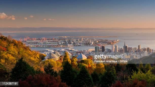 kobe skyline cityscape during sunset, japan - kobe japan stock pictures, royalty-free photos & images