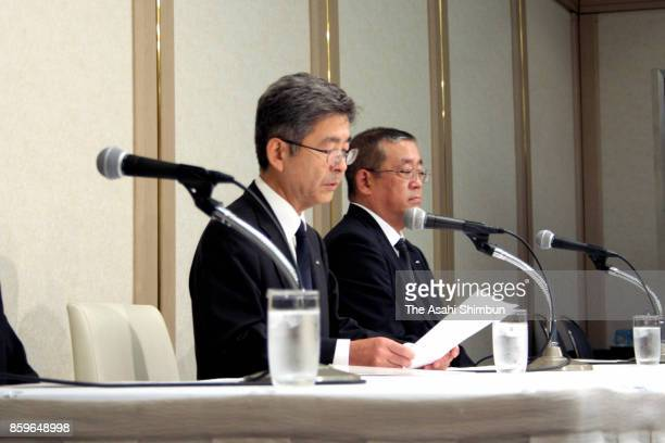 Kobe Steel executive vice president Naoto Umehara admits the company falsified data on aluminum and copper products during a press conference on...