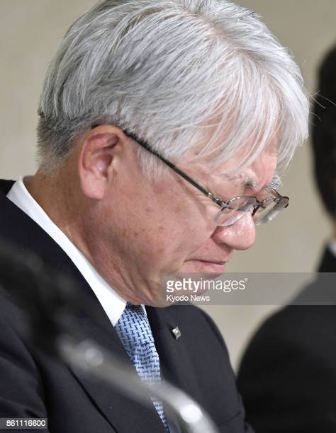 Kobe Steel Ltd Chief Executive Officer Hiroya Kawasaki holds a press conference in Tokyo on Oct 13 2017 Japan's thirdlargest steelmaker added nine...
