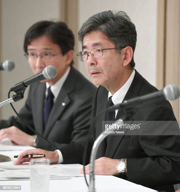 Kobe Steel Ltd Executive Vice President Naoto Umehara speaks during a press conference in Tokyo on Oct 20 2017 The thirdlargest Japanese steelmaker...