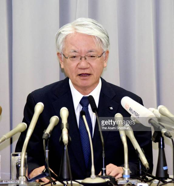 Kobe Steel President Hiroya Kawasaki attends a press conference on November 10 2017 in Tokyo Japan Kawasaki submitted the report to Industry Ministry...
