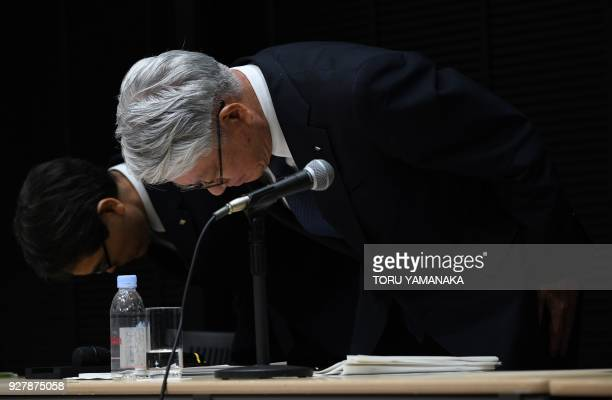 Kobe Steel President Hiroya Kawasaki bows at the end of a press conference in Tokyo on March 6 2018 The head of scandalhit Japanese steelmaker Kobe...