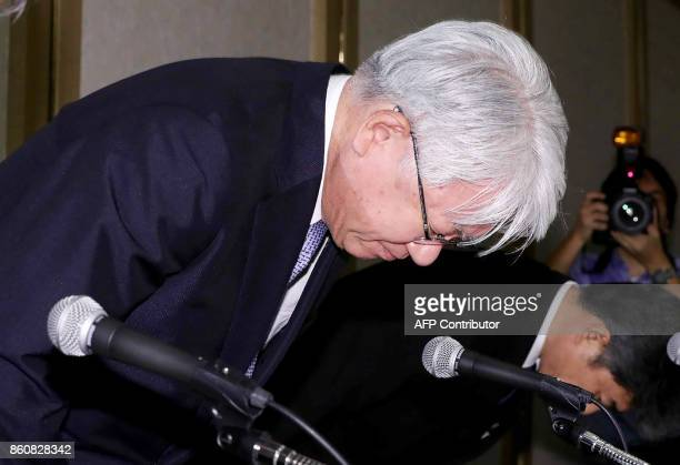 Kobe Steel President Hiroya Kawasaki bows during a press conference in Tokyo on October 13 2017 Japan's Kobe Steel admitted on October 13 that a...