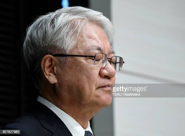 Kobe Steel President Hiroya Kawasaki closes his eyes during a press conference in Tokyo on March 6 2018 The head of scandalhit Japanese steelmaker...