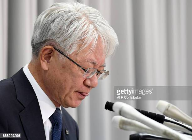 Kobe Steel President Hiroya Kawasaki explains recent scandal on the company during a press conference in Tokyo on October 26 2017 After markets...