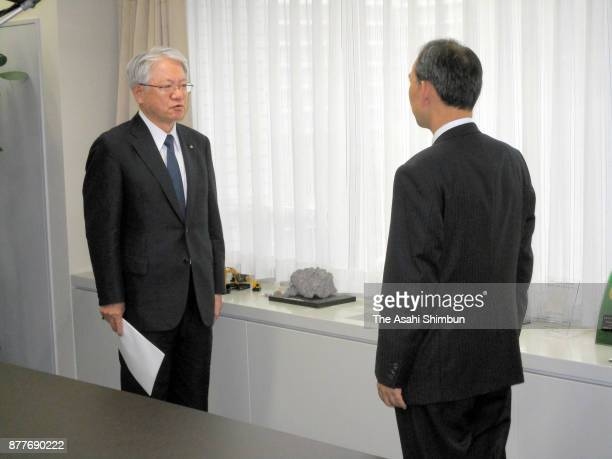 Kobe Steel President Hiroya Kawasaki submit a report on November 10 2017 in Tokyo Japan