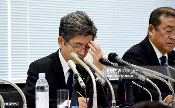 Kobe Steel Vice President Naoto Umehara attends a press conference on October 30 2017 in Tokyo Japan
