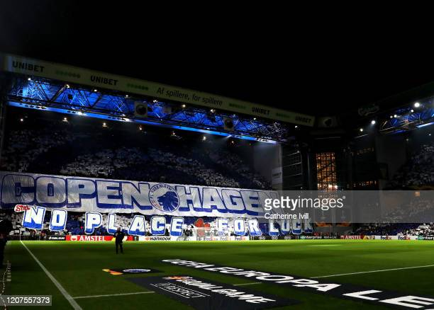 Kobenhavn fans hold up a tifo display prior to the UEFA Europa League round of 32 first leg match between FC Kobenhavn and Celtic FC at Telia Parken...