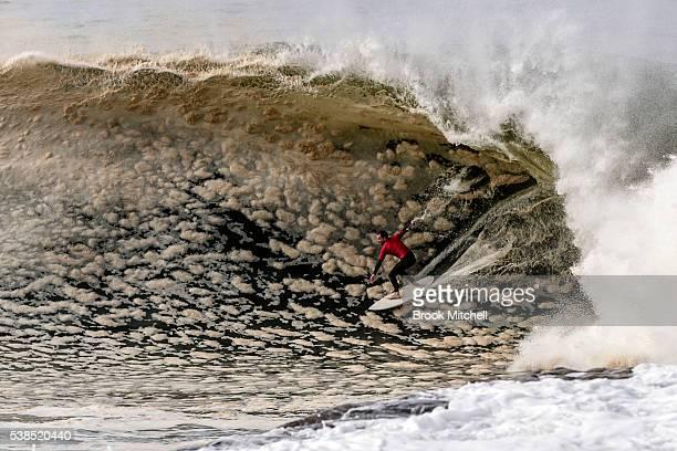 Kobi Abberton on a foamy wave during Cape Fear on June 7, 2016 in Sydney, Australia.