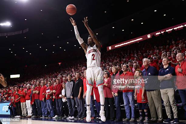 Kobi Simmons of the Arizona Wildcats puts up a three point shot against the Arizona State Sun Devils during the first half of the college basketball...