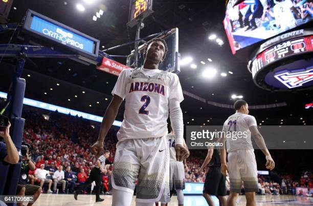 Kobi Simmons of the Arizona Wildcats reacts during the second half of the college basketball game against the Stanford Cardinal at McKale Center on...