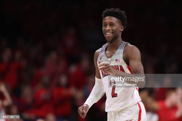 Kobi Simmons of the Arizona Wildcats reacts during the second half of the college basketball game against the Arizona State Sun Devils at McKale...