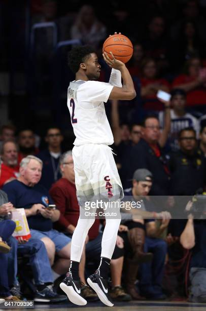 Kobi Simmons of the Arizona Wildcats shoots during the first half of the college basketball game against the Stanford Cardinal at McKale Center on...