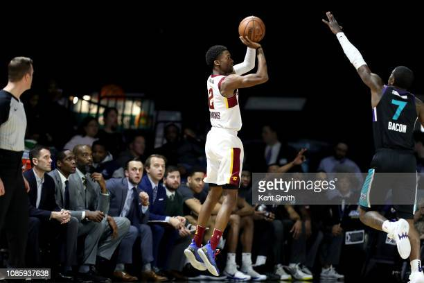 Kobi Simmons of the Canton Charge shoots the ball against the Greensboro Swarm on January 21 2019 at Greensboro Coliseum Fieldhouse in Greensboro...