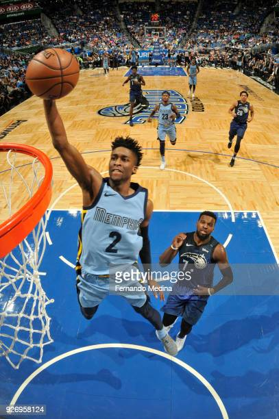 Kobi Simmons of the Memphis Grizzlies drives to the basket during the game against the Orlando Magic on March 23, 2018 at Amway Center in Orlando,...