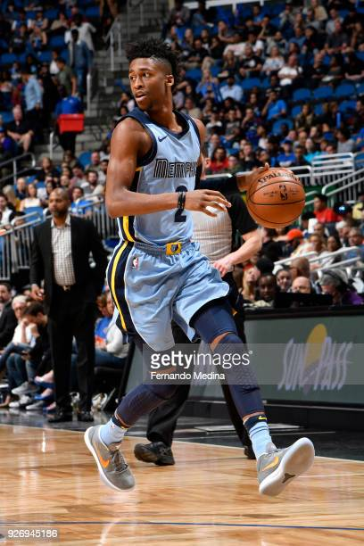Kobi Simmons of the Memphis Grizzlies handles the ball during the game against the Orlando Magic on March 23, 2018 at Amway Center in Orlando,...
