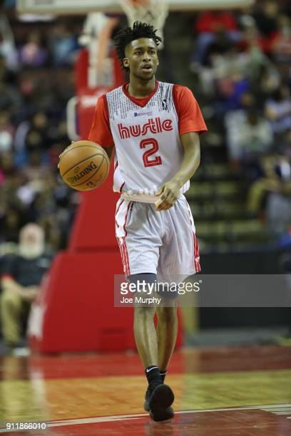 Kobi Simmons of the Memphis Hustle handles the ball against the Texas Legends during an NBA GLeague game on January 29 2018 at Landers Center in...