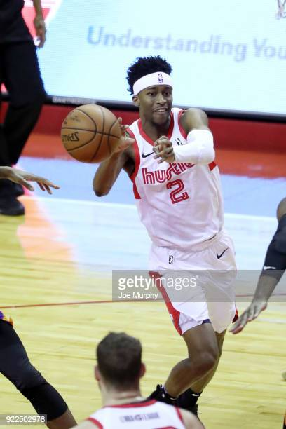Kobi Simmons of the Memphis Hustle passes the ball against Northern Arizona Suns during an NBA GLeague game on February 21 2018 at Landers Center in...