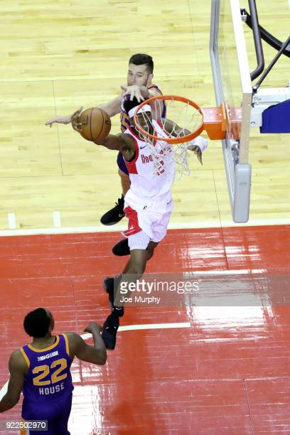 Kobi Simmons of the Memphis Hustle shoots the ball during the game against the Northern Arizona Suns on February 21 2018 at Landers Center in...