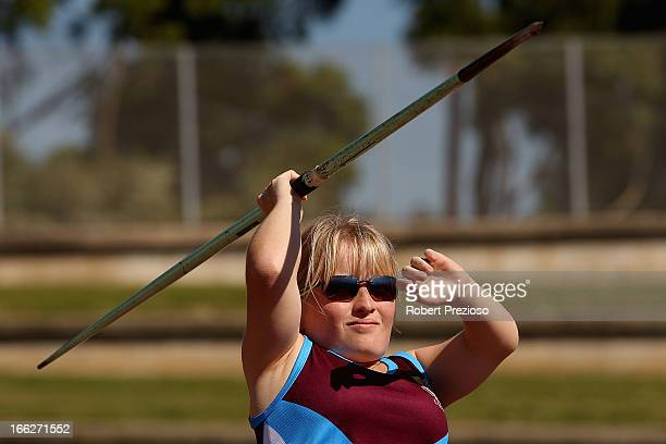 Kobie Donovan of QLD competes in Women Javelin Throw Ambulant T/F40 during day one of the Australian Athletics Championships at Sydney Olympic Park...