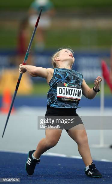 Kobie Donovan of Queensland competes in the womens javelin throw ambulant during day five of the 2017 Australian Athletics Championships at Sydney...