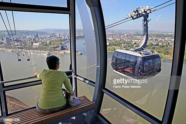 Koblenz, cable car, Deutsches Eck, Rhine