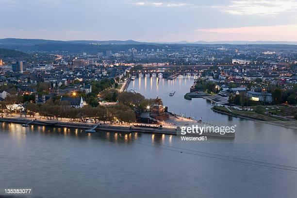 Koblenz, Ehrenbreitstein, View of Deutsches Eck at sunset