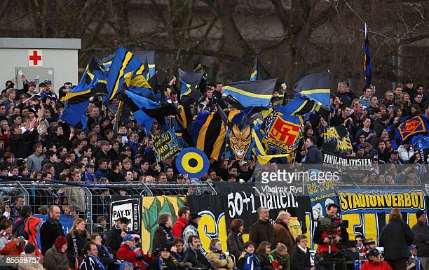 Koblenz fans are seen during the second Bundesliga match at the Oberwerth stadium on March 20 2009 in Koblenz Germany