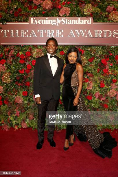 Kobna Holbrook Smith and Adrienne Warren arrive at The 64th Evening Standard Theatre Awards at the Theatre Royal Drury Lane on November 18 2018 in...