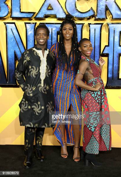 Kobna HoldbrookSmith and Michaela Coel attend the European Premiere of 'Black Panther' at Eventim Apollo on February 8 2018 in London England