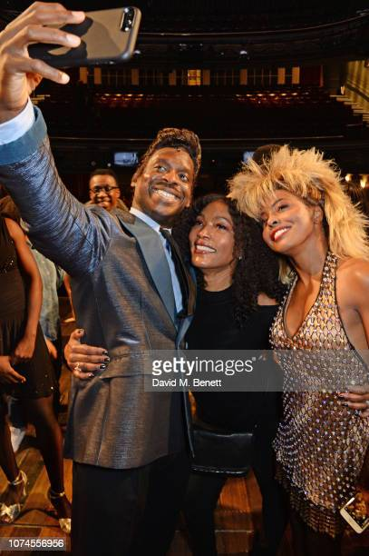 Kobna HoldbrookSmith Angela Bassett and Adrienne Warren pose backstage at the West End production of 'Tina The Tina Turner Musical' at The Aldwych...