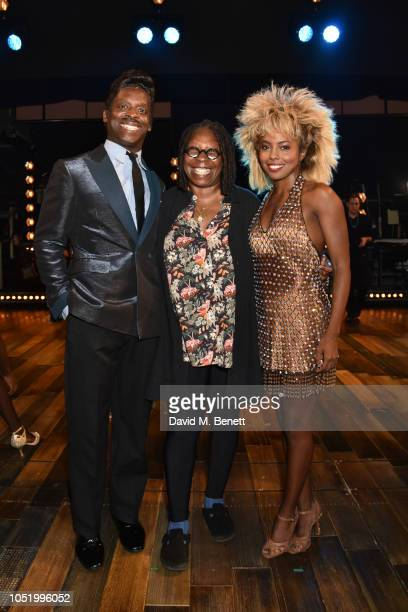 Kobna HoldbrookSmith Whoopi Goldberg and Adrienne Warren pose with backstage at the West End production of 'Tina The Tina Turner Musical' at The...