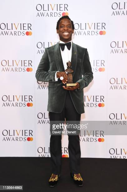 Kobna HoldbrookSmith winner of the Best Actor in a Musical award for 'Tina The Tina Turner Musical' poses in the press room at The Olivier Awards...