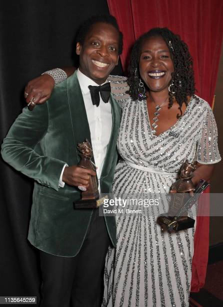 Kobna HoldbrookSmith winner of the Best Actor in a Musical award for 'Tina The Tina Turner Musical' and Sharon D Clarke winner of the Best Actress in...
