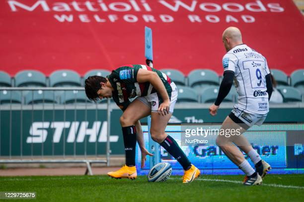 Kobus Van Wyk of Leicester Tigers scores his sides first TryKobus Van Wyk of Leicester Tigers scores his sides first Try during the Gallagher...