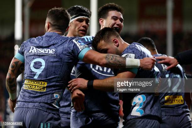 Kobus Van Wyk of the Hurricanes celebrates after scoring a try during the round 7 Super Rugby Aotearoa match between the Crusaders and the Hurricanes...
