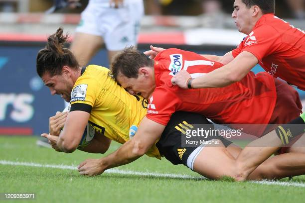 Kobus Van Wyk of the Hurricanes scores a try during the round five Super Rugby match between the Hurricanes and the Sunwolves at McLean Park on...