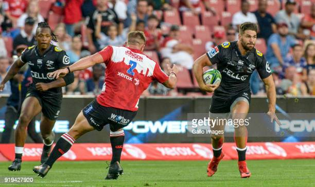Kobus Van Wyk of the Sharks with possession during the Super Rugby match between Emirates Lions and Cell C Sharks at Emirates Airline Park on...